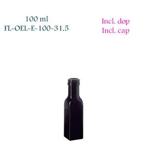 100 ml vierkante oliefles, Miron violet glas FL-OEL-E-100-31.5