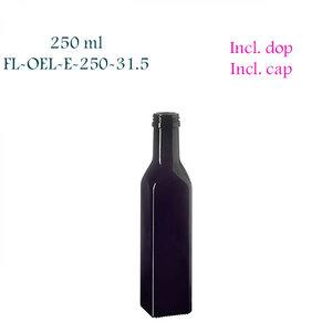 250 ml vierkante oliefles, Miron violet glas FL-OEL-E-250-31.5