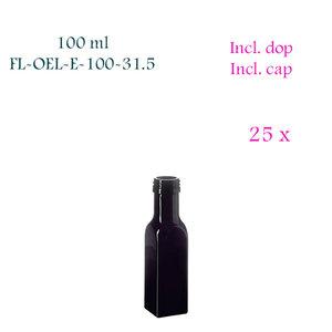 25 x 100 ml vierkante oliefles, Miron violet glas FL-OEL-E-100-31.5