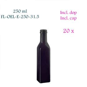 20 x 250 ml vierkante oliefles, Miron violet glas FL-OEL-E-250-31.5